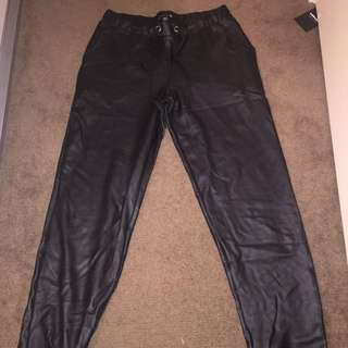 Black PU Leather Track Pants