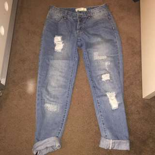 Blue Mid Wash Boyfriend Jeans
