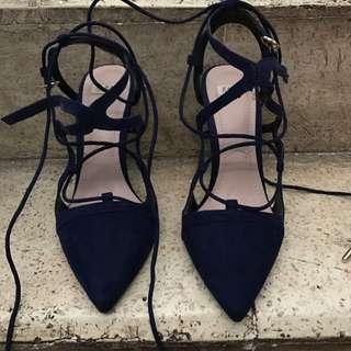 Zara Blue Velvet Heels
