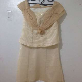 Sequence Pinya Barong Blouse And Skirt