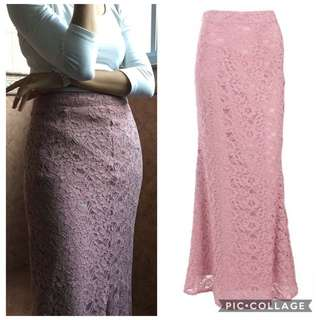 Lace Mermaid Skirt (Dusty Pink)