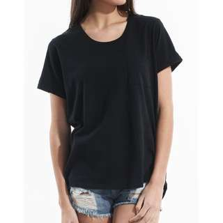 SILENT THEORY GENERAL PANT POCKET BLACK T-SHIRT TOP TANK TEE SHIRT LADY XS S 6 8