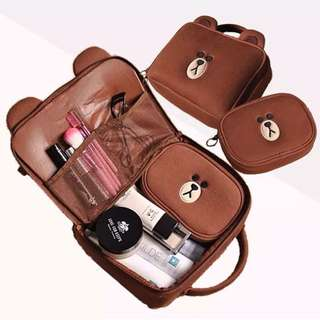 Line Brown Makeup pouch