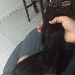 "20"" Inch Reddish Black Clip In Extensions"