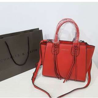 Charles n Keith Red Bag