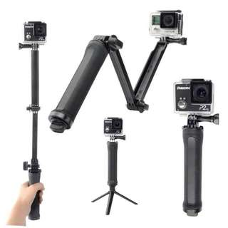 Gopro collapsoble 3 way monopod mount camera grip. (extension arm, tripod stand)