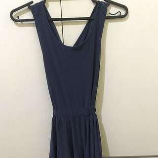 Navy Blue Backless Dress