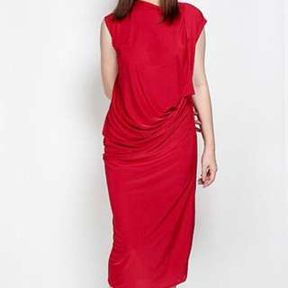 Red Waterfall Flattering Midi Dress