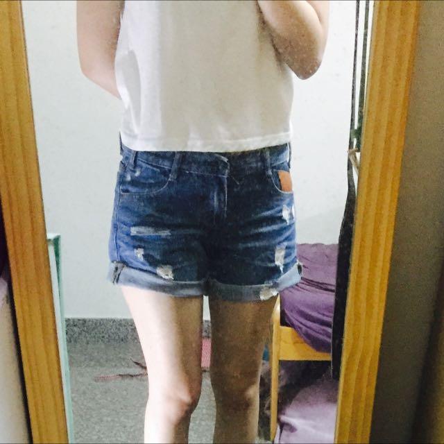 深藍牛仔短褲