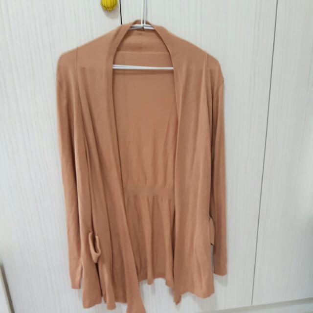 粉橘修身長版針織衫