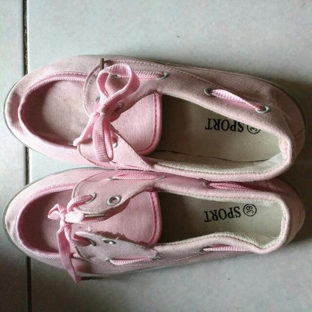 粉紅帆布鞋