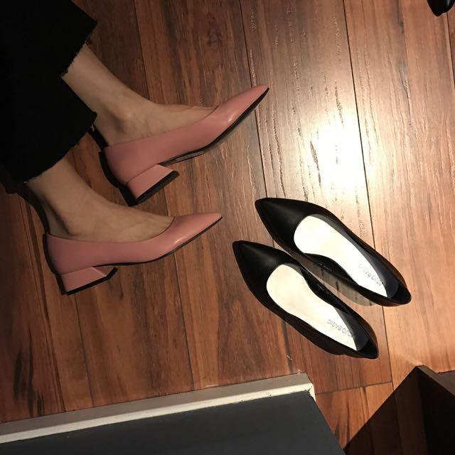 歐美氣質質感尖頭粗跟鞋