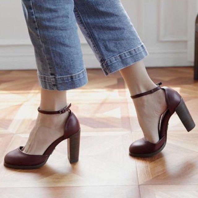 氣質圓頭粗跟鞋