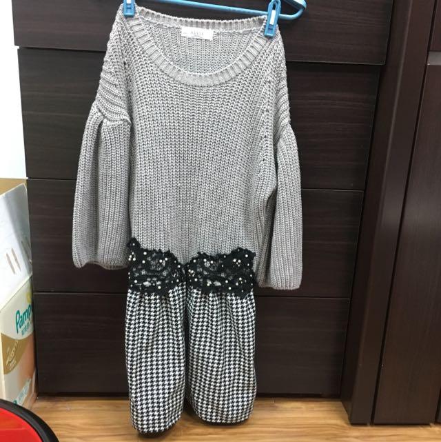 正韓灰色假腰帶千鳥格紋連身洋裝