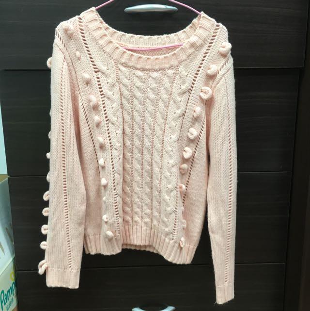 全新粉橘色毛線保暖造型上衣