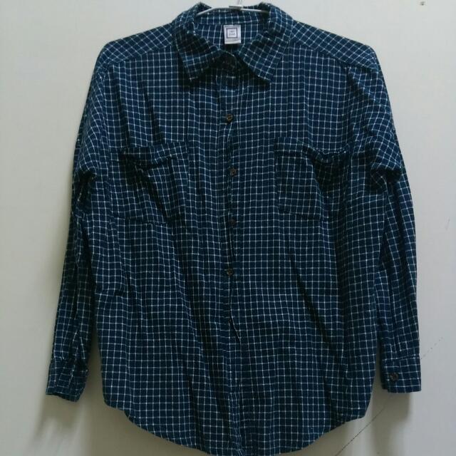 細格紋深藍襯衫