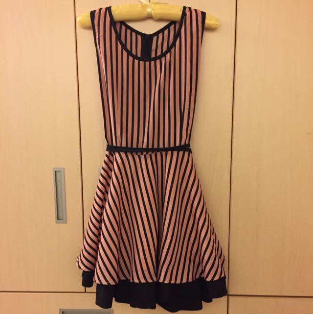 條紋 連身 洋裝 粉藕色 黑