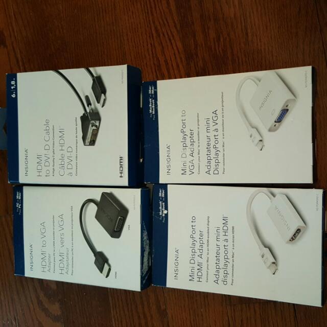 Adapters HDMI To VGA, HDMI to DVI-D, Mini Displayport To HDMI, Mini Displayport to VGA
