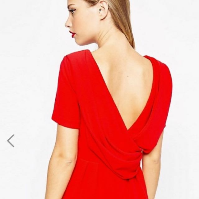 Asos Red Open-back Pencil Dress