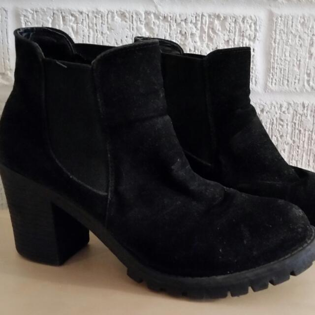 Black Faux Suede Chunky Heeled Ankle Boots - Size 8