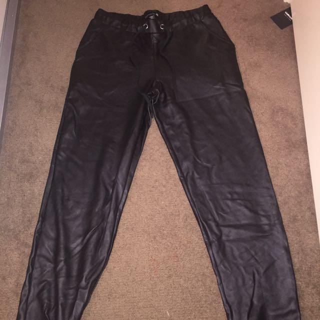 Black PU Leather Track Pants