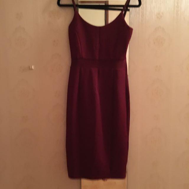 Burgundy Mesh Midi Dress