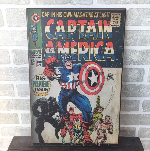 Captain American Comic Book Art Plaque