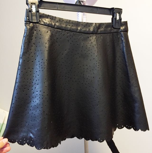 Club Monaco Eyelet Leather Skirt
