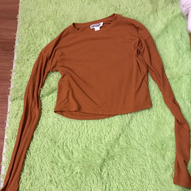 Forever 21 Ribbed Cropped Long sleeved Top
