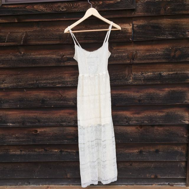 Hollister 	 Beach Street Lace Maxi Dress CREAM XS