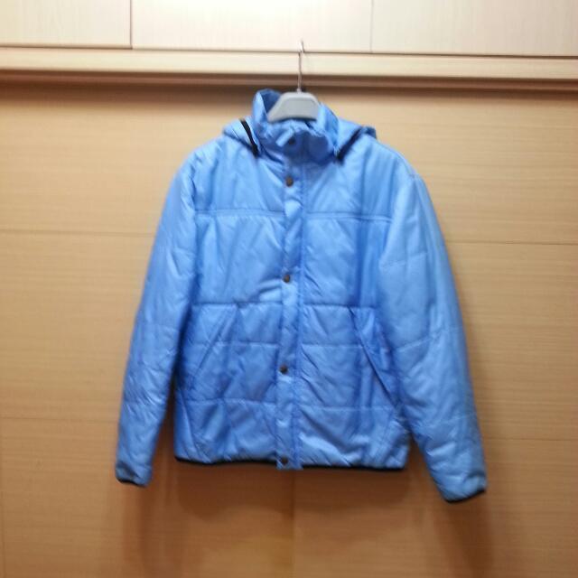 藍色舖棉風衣外套L號