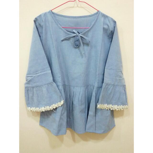 Lace Peplum Top In Light Blue (Berrybenka)