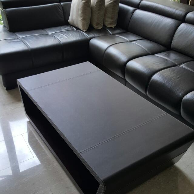 Leather L Shaped Sofa And