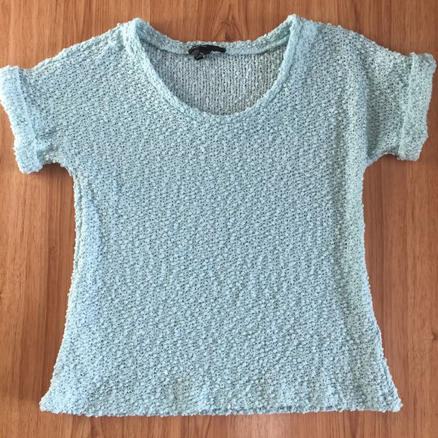 Mango Light Aqua Knit Top