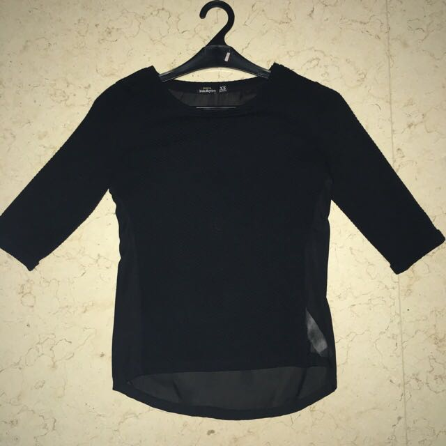 NEW bershka textured black top