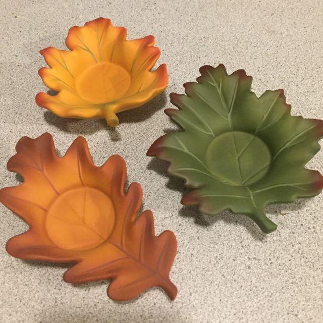 Partylite leaves tea light holders