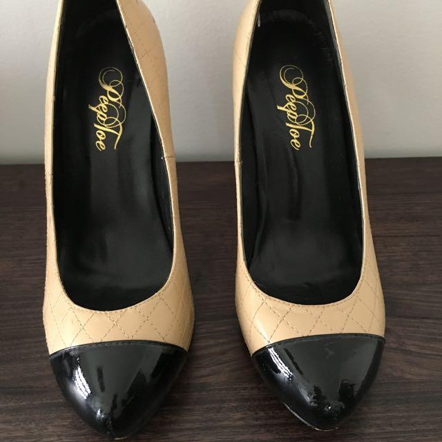 Peep Toe 2 Tone High Heels