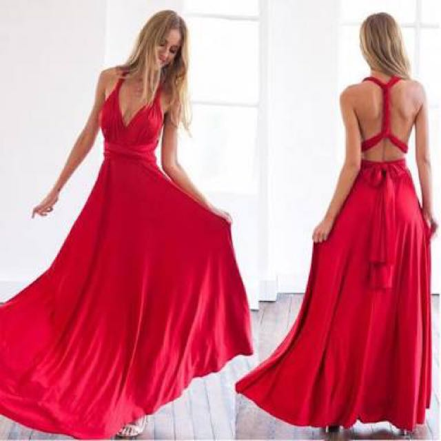 Red Multiwrap Dress - Formal Dress