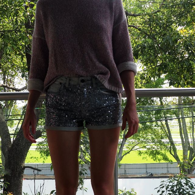 Sequin beaded denim shorts
