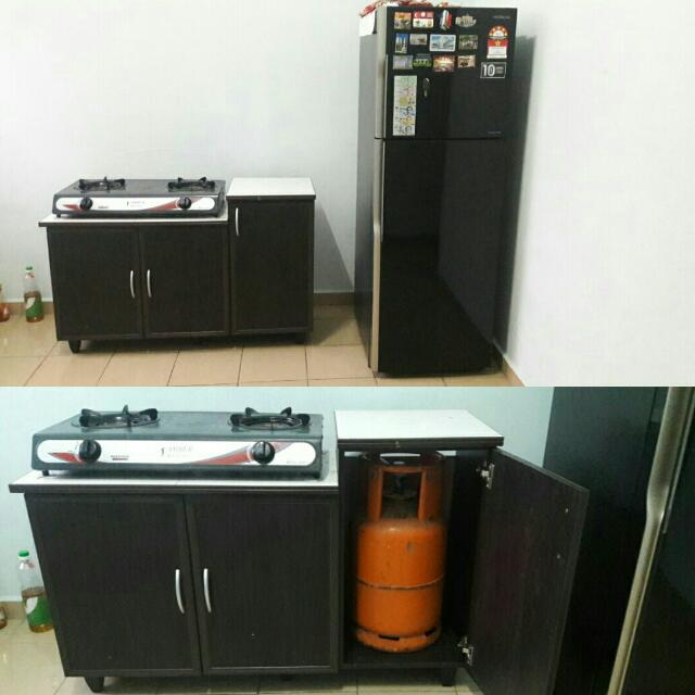 Sets Peti Ais Kabiner Dapur Gas Tong Gas Kitchen Appliances On