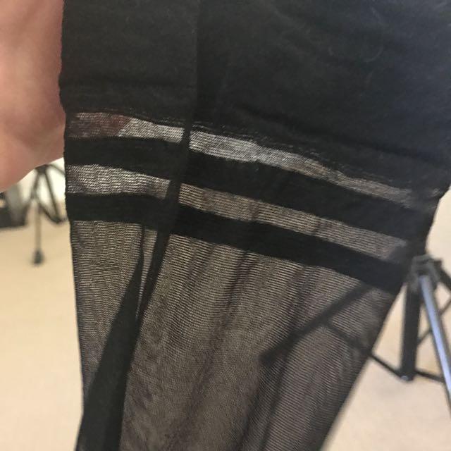 Smooth black top holdup stockings from bras n things