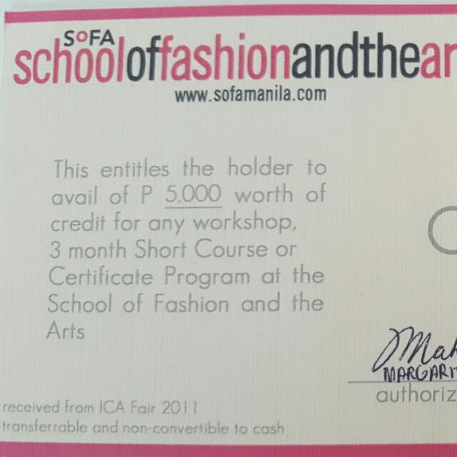 SOFA (School Of Fashion And The Arts) 5k Worth Gift Certificate ...