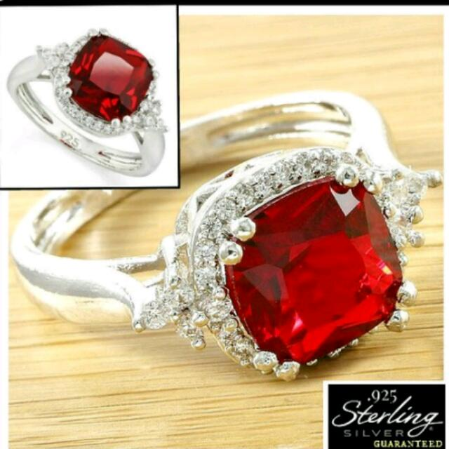 Solid .925 Sterling Silver 2.11ctw Garnet  & White Sapphires  Ring. On Sale!