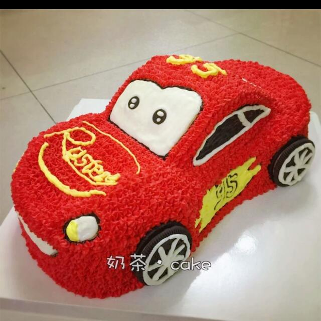 Taxi Car Birthday Cake McQueen Customized Chiffon Chocolate Whipped