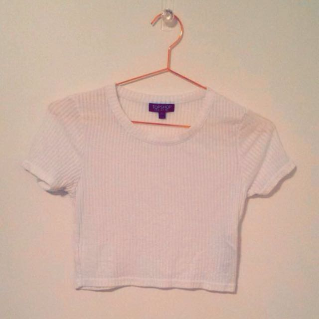 Topshop Ribbed White Crop Top