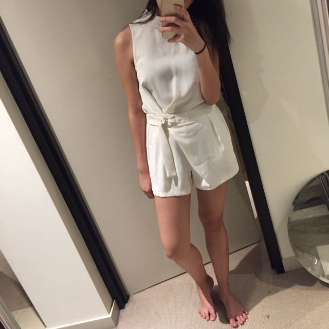 Topshop White Playsuit