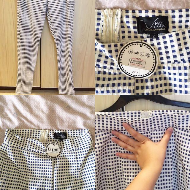 White & Blue Square Pants