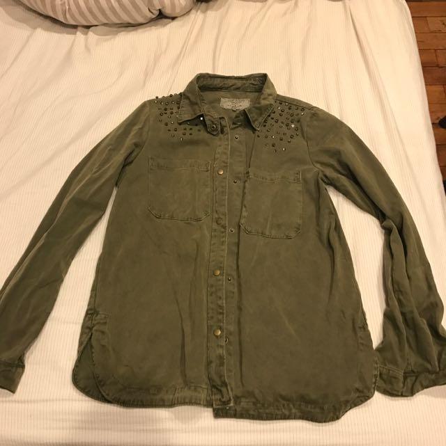 Zara M尺寸 綠色軍上衣 襯衫