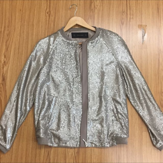Zara Sequined Bomber Jacket