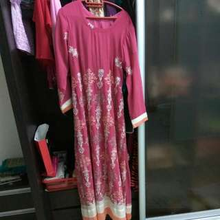 Preloved Pink Dress With Matching Scarf